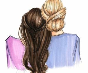 art work, brunette, and blonde hair image