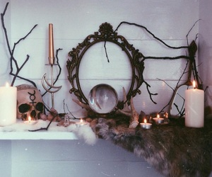 candles, crystal, and skull image