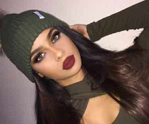 brinette, green, and makeup image