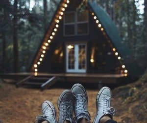 lights, couple, and autumn image