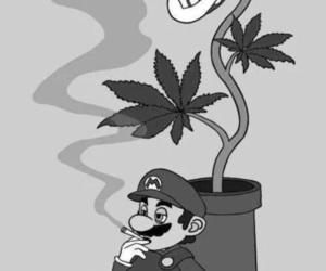weed, mario, and smoke image
