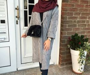 grey coat with hijab image