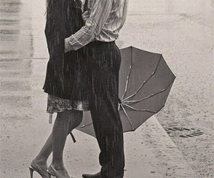 love, kiss, and rain image
