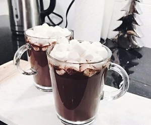 winter, drink, and marshmallow image