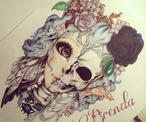 face, girl, and skull image