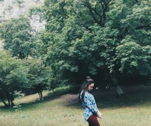 girl, green, and trees image