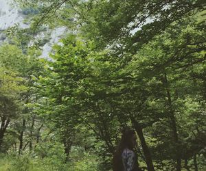 girl, trees, and good pic image