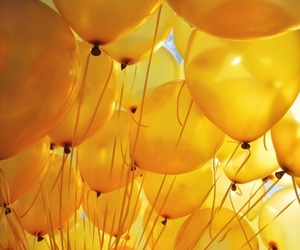 aesthetic, yellow, and balloons image