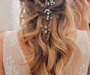 bride, wedding, and hair image