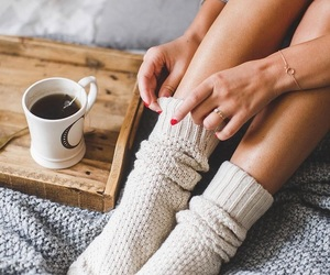 bed, coffe, and mood image