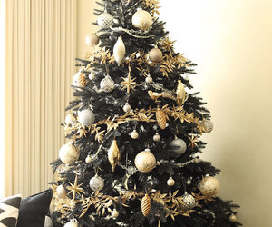 black, christmas, and gold image