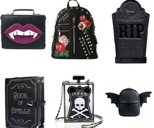 bags, clutch, and goth image