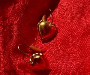 earrings, gold, and red image