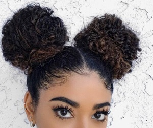hair, buns, and beauty image