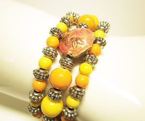 etsy, beaded bracelet, and peaches and cream image