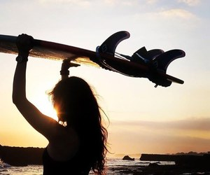 girl, surf, and surfer image