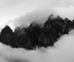 black and white and clouds image