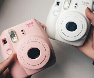 pink, white, and polaroid image