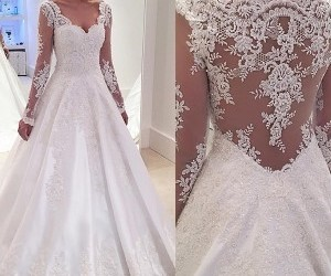 wedding dress, v-neck wedding dresses, and wedding dresses a-line image