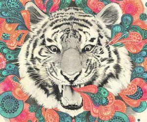 artwork, drawing, and tiger image