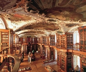 art, library, and autumn image