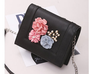 black shoulder bags, flower shoulder bags, and pu crossbody bags image