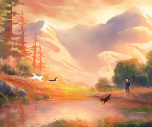 animals, dogs, and lake image