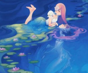 love, mermaid, and anime image