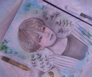 drawing, illustration, and bts image