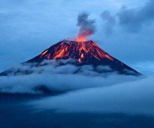 volcano, nature, and lava image