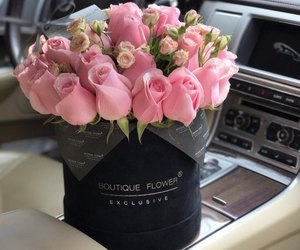 car, gift, and flowers image