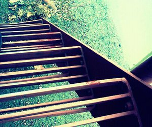 green and stairs image