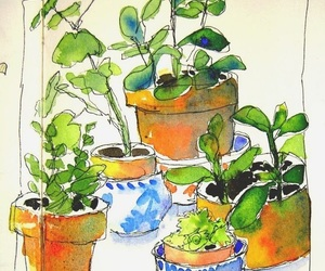 blue, painting, and plants image