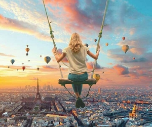 balloons, swing, and clouds image