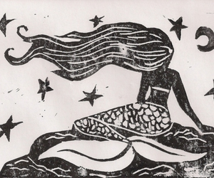 mermaid, moon, and black and white image
