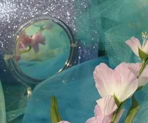 blue, flowers, and mirror image