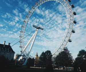 clouds, london eye, and sightseeing image