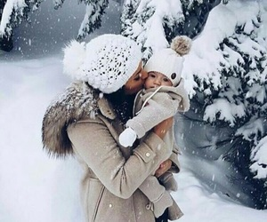baby, winter, and snow image
