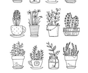 black and white, flower pot, and draw image