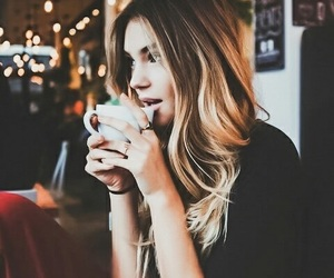 girl, coffee, and pretty image