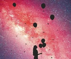balloons, stars, and galaxy image