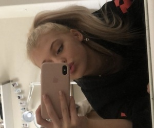 blonde, iphone, and mirror image