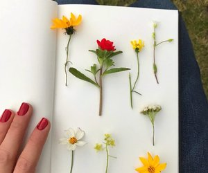 books, chicas, and flores image