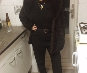 black, fur coat, and outfit image