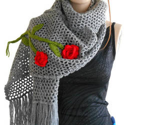 grey, knit, and long scarf image