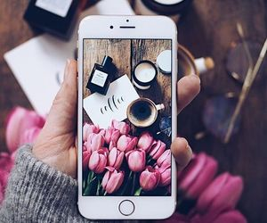 flowers, coffee, and iphone image