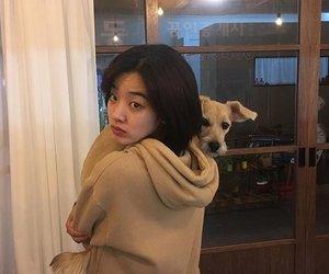 dog, girl, and lee joo young image