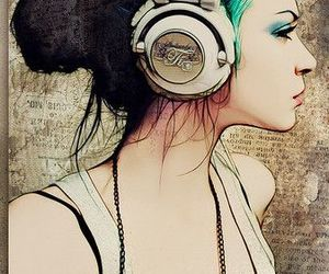 art, headphones, and girl image