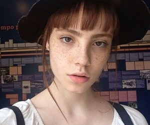 bangs, freckles, and girls image
