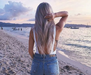 beach, beautiful, and fashion image